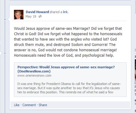 Rep David Howard: Bad Speller, Homophobe
