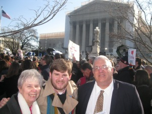 New Ways Ministry staff at the marriage equality demonstration outside the Supreme Court:  Sister Jeannine Gramick, Bob Shine, Francis DeBernardo.